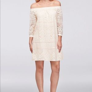 Off the shoulder lace shift dress